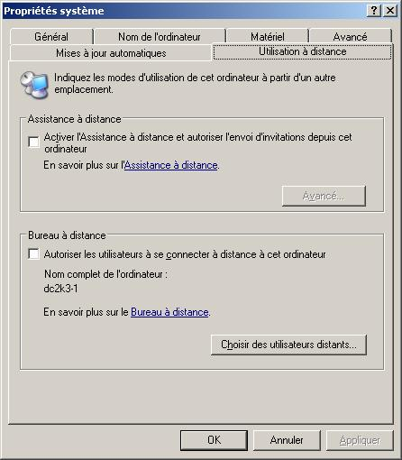 Le Bureau distance de Windows 2003
